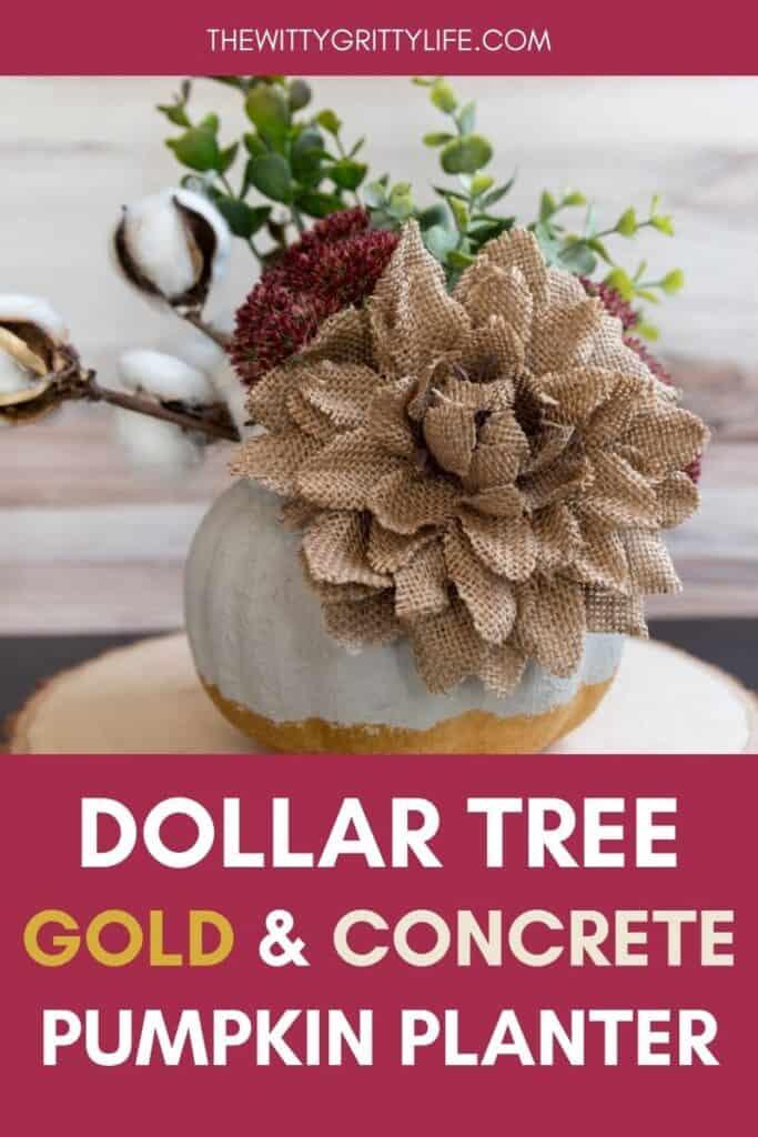 Dollar tree gold and concrete pumpkin planter