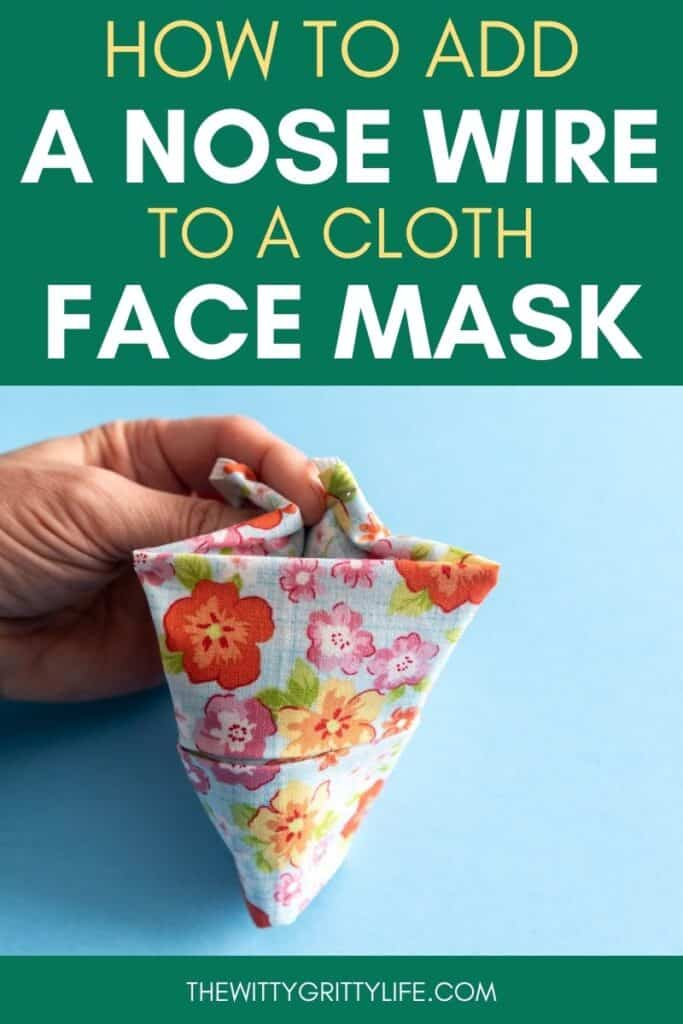 How to add a nose wire to a cloth mask pinterest image