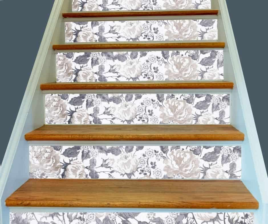Stairs with adhesive wallpaper decor