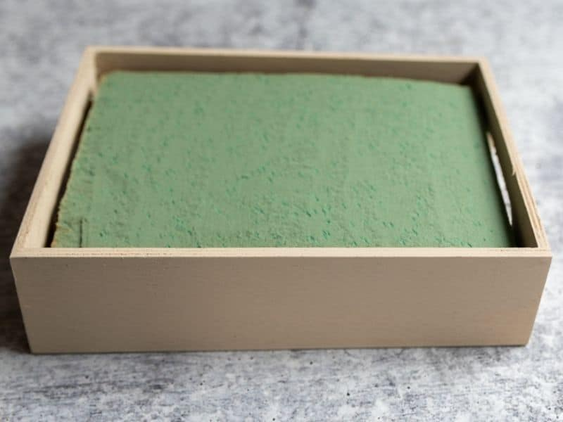 small wood tray with floral foam