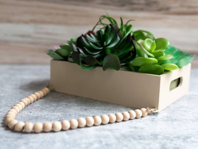 wood succulent planter with beaded string