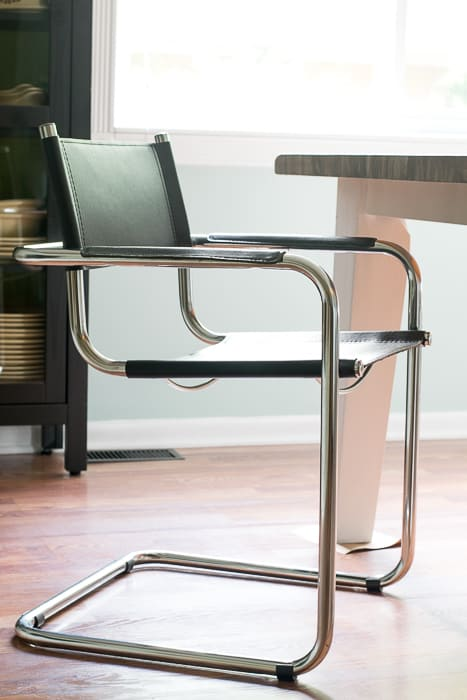 black leather and chrome cantilever Bauhaus chair