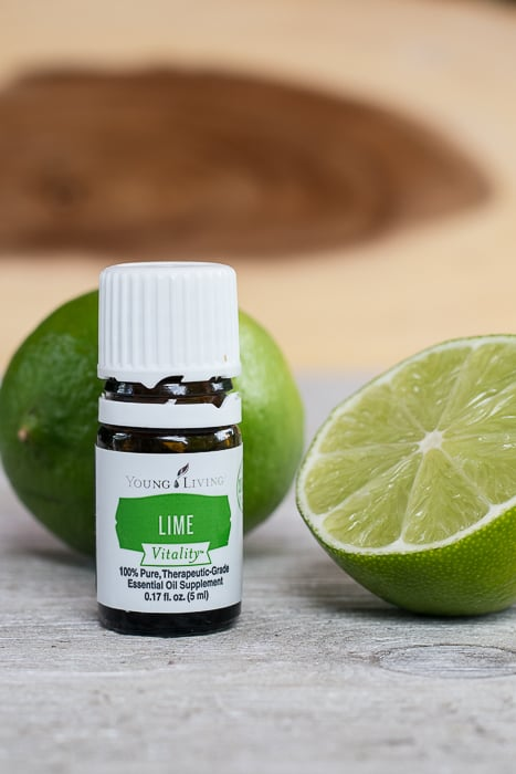picture of lime vitality essential oil and lime