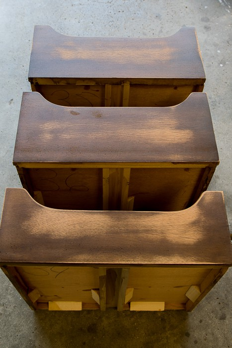 picture of drawer inserts, sanded