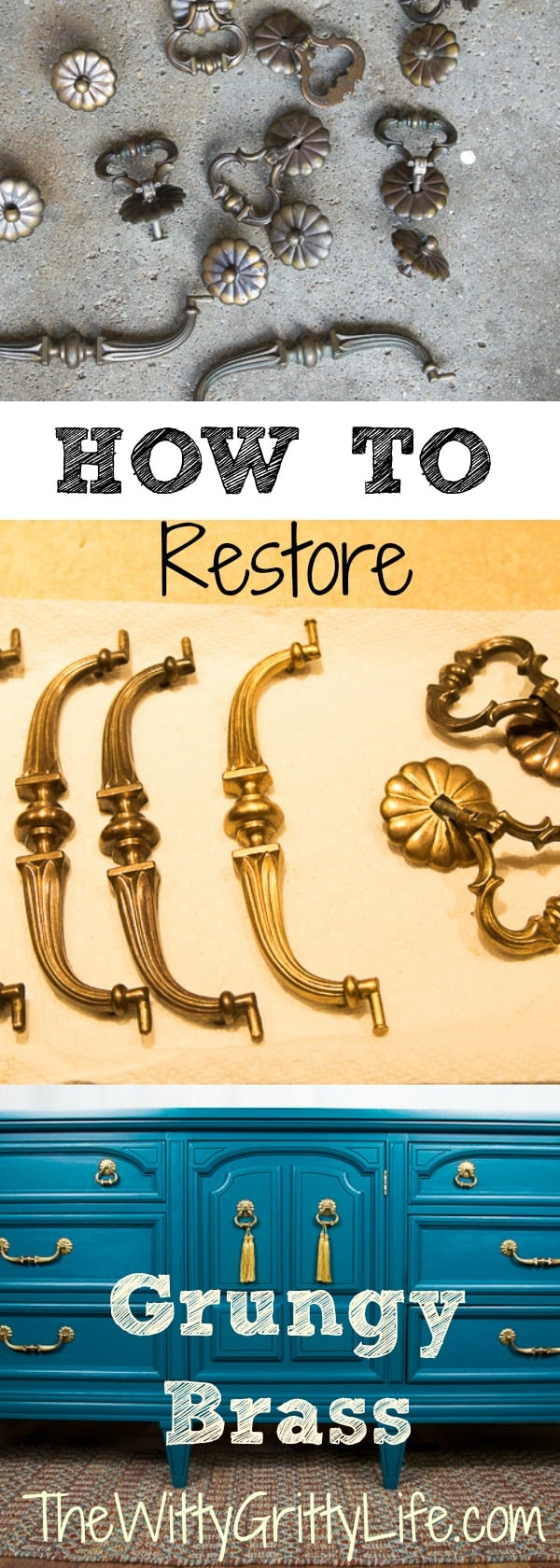 Reusing existing hardware is a fantastic way to save money when restoring or upcycling an old furniture piece. Bringing dingy dark brass is easier than you think. And with a few simple steps you will have brass hardware that will be the star of your furniture makeover!