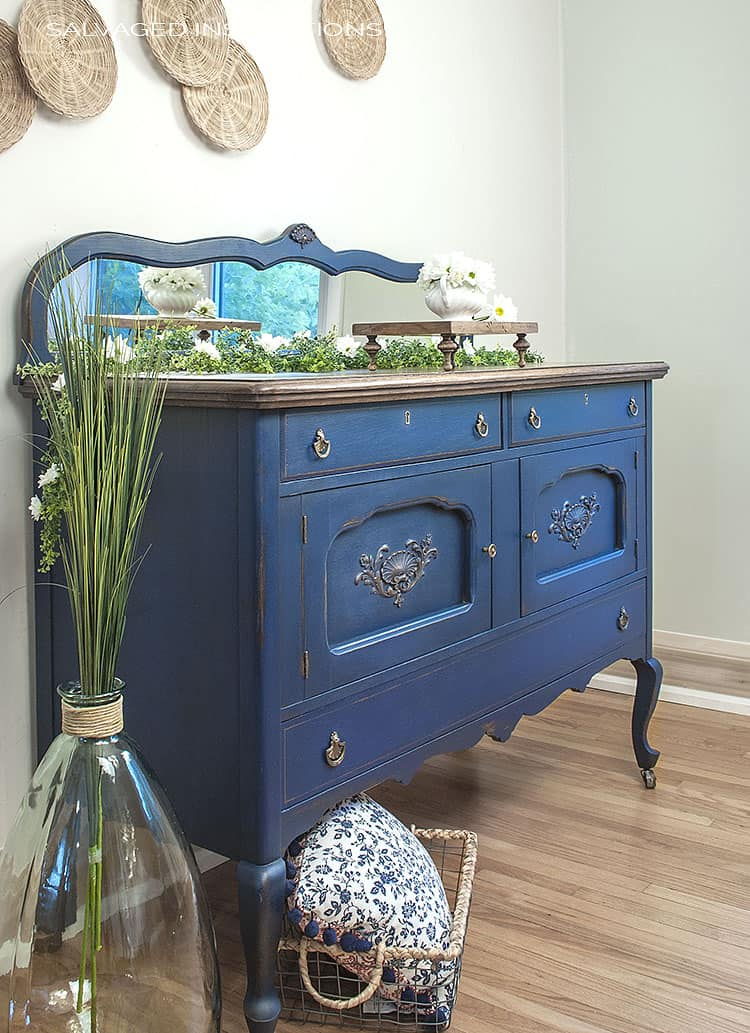 picture of an antique blue dresser