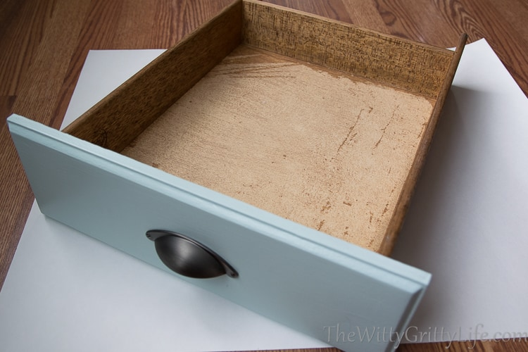 drawer with liner removed for how to line drawers the easy way