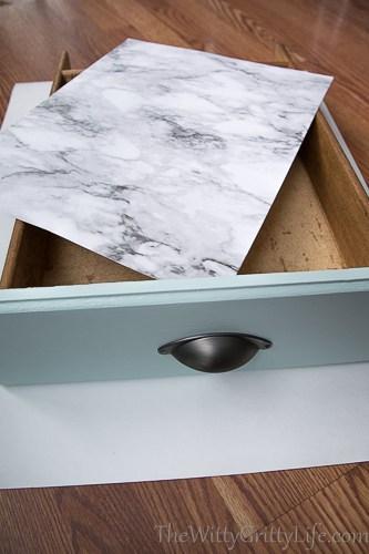 Finished drawer liner on top of drawer