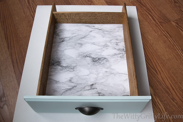 Drawer with finished liner installed