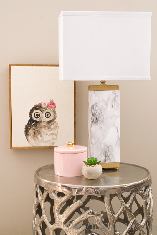 marble lamp with rectangular shade