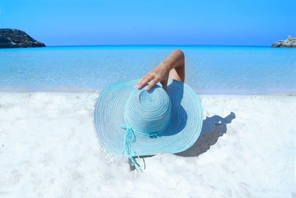 relaxing on a white sandy beach