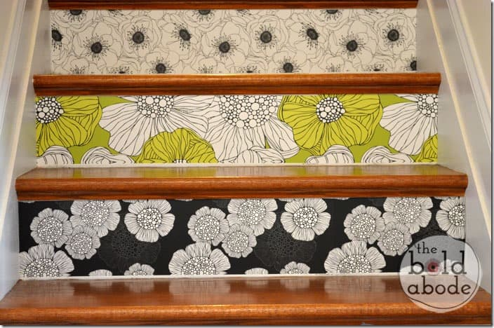 wallpaper covered stairs