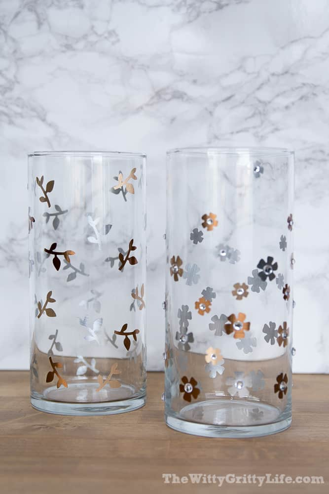 finished vases with foil flowers, leaves and stems applied