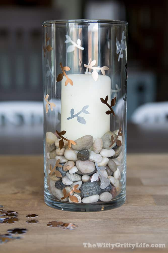 glass candle holder with stems and leaves