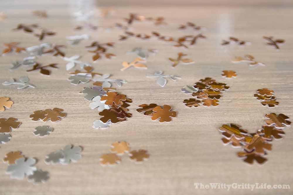 fun flower shapes cut form metallic adhesive foil