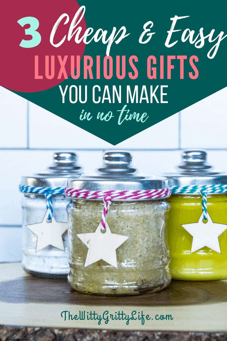 Are you still looking for a cheap and easy to make luxurious Christmas gift for your friends, family member or coworker? Don't worry there is still time to DIY a heartfelt gift on a tight budget with fun jars from the dollar store and supplies you probably already own!