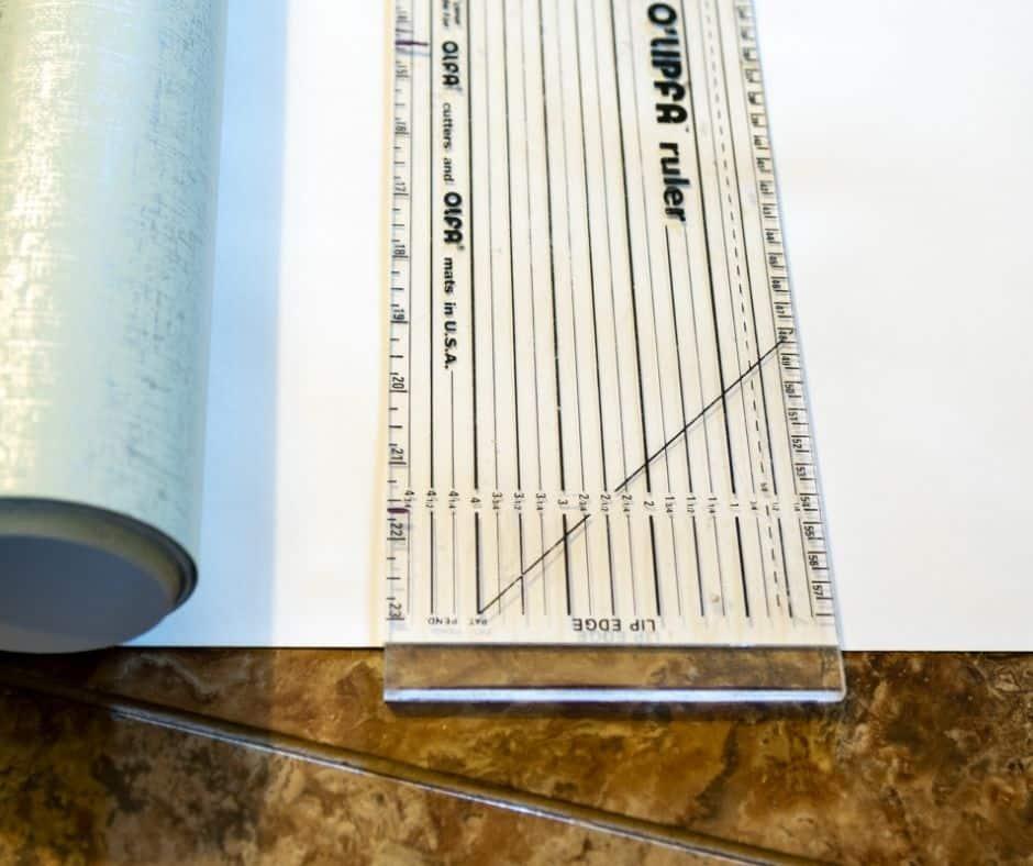 self-stick wallpaper and ruler