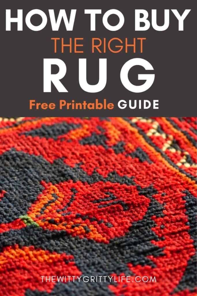 pinterest image for how to buy the right rug the first time