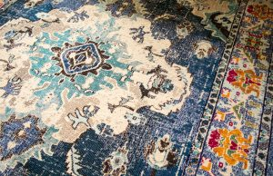 distressed oriental style blue rug