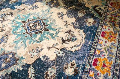 distressed oriental style blue rug