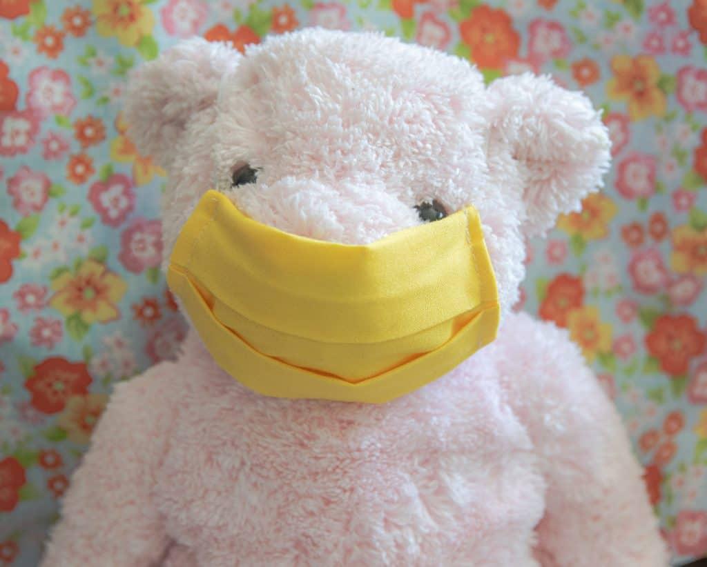 pink bear modeling washable face mask.