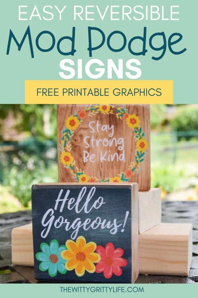 EASY REVERSIBLE MOD PODGE SIGNS