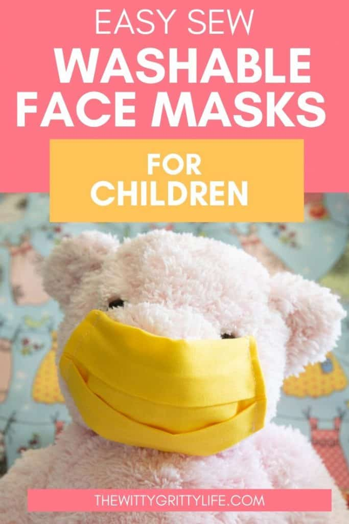 pinterest image with teddy bear for easy sew washable face masks for children