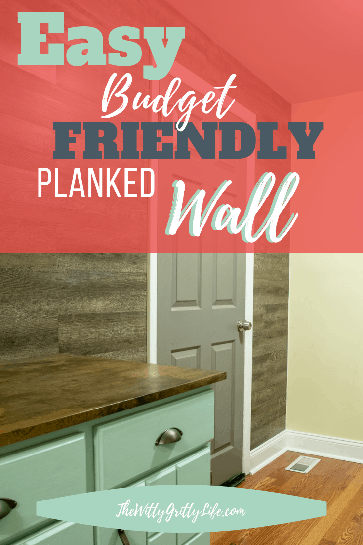 Adding an easy and budget friendly planked wall is easier than you think! Planked walls are not only trendy, but practical as well. This DIY planked wall is the perfect solution for a laundry room and can cover up uneven unsightly walls. No special tools or skills required. Inexpensive vinyl floor tiles make this wall easy to install and care for!