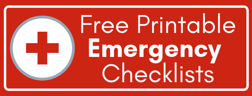 red sign showing red cross symbol and free printable emergency checklists