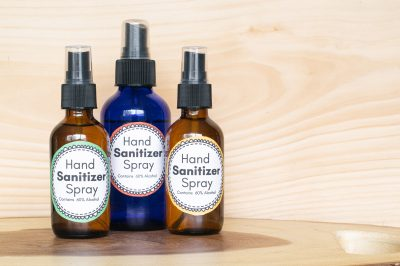 hand sanitizer spray with alcohol three different bottles