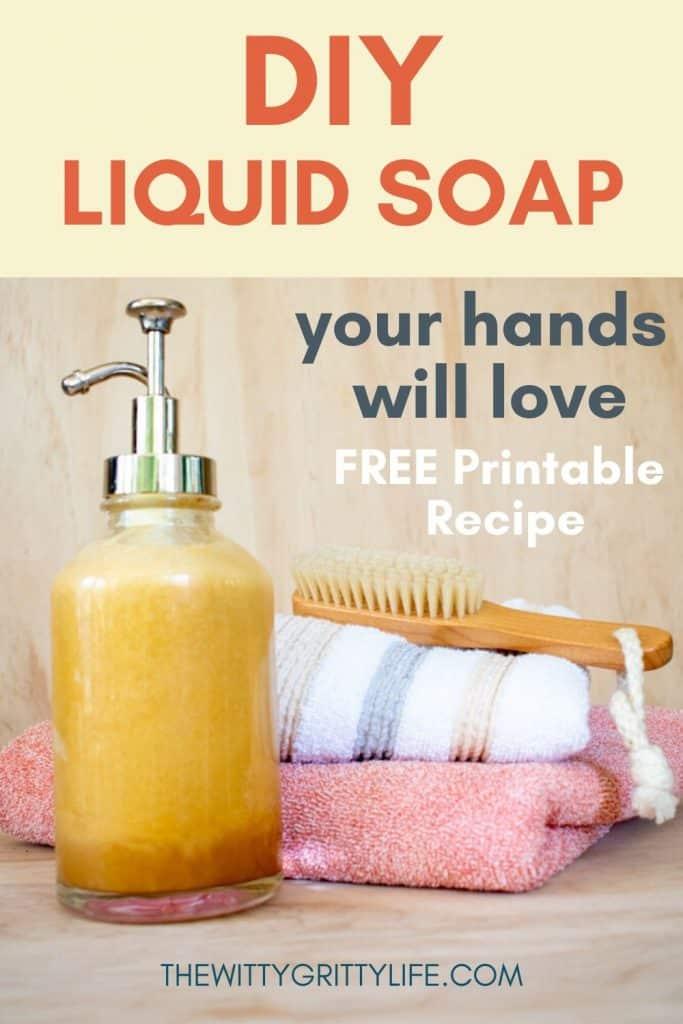 Diy liquid hand soap pinterest image