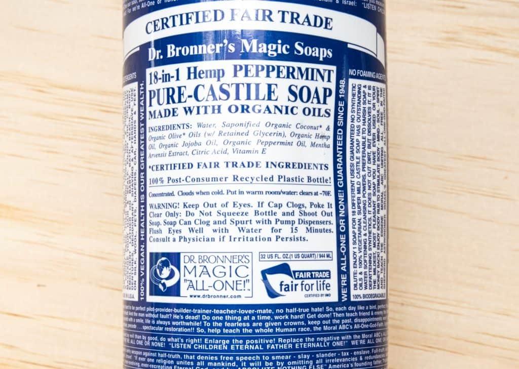 Dr Bronner's castile soap label
