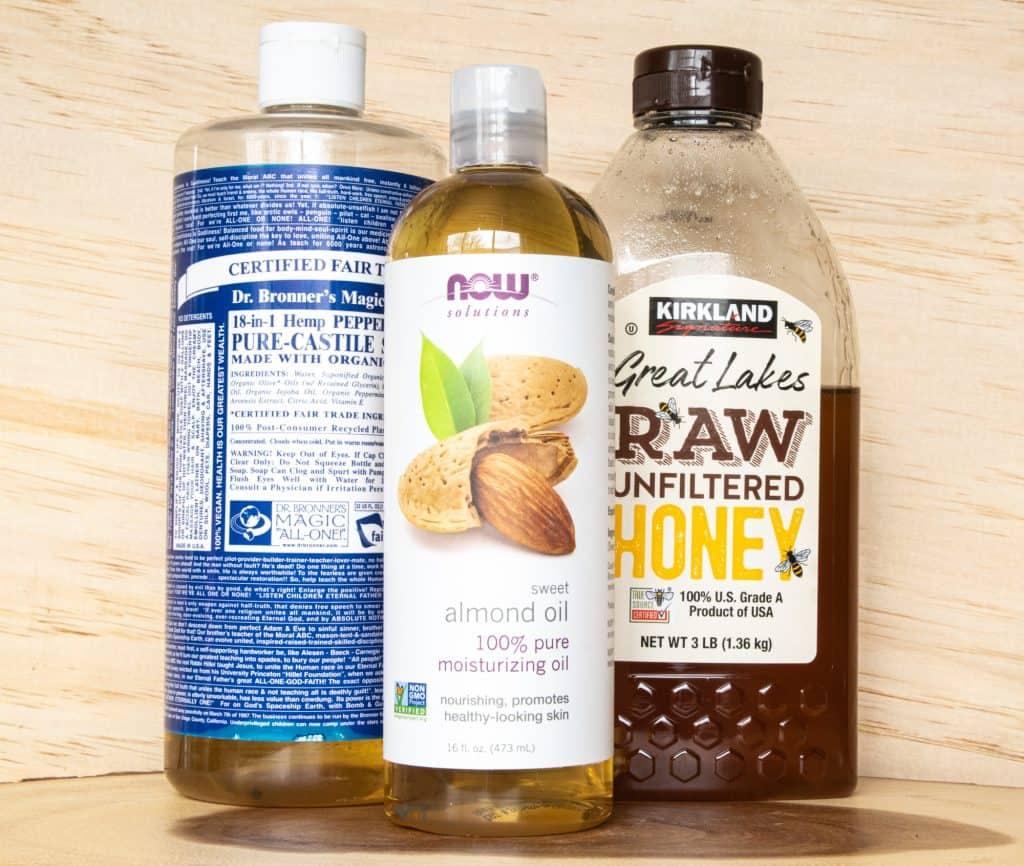 castile soap, almond oil and honey