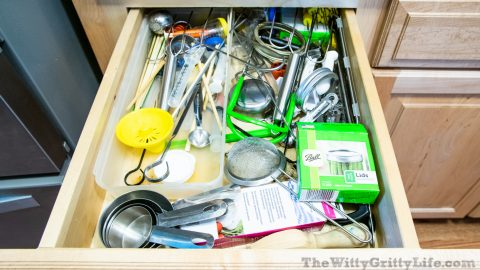 before picture of how to organize your kitchen drawers