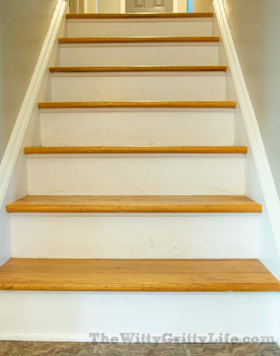 before image of stair risers