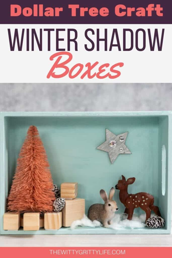 Dollar Tree Craft Winter Shadow Boxes