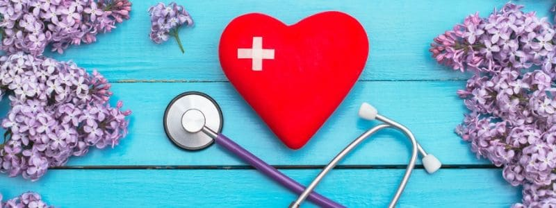 image of heart, stethoscope and lilacs
