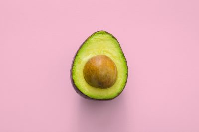 avocado with pink background