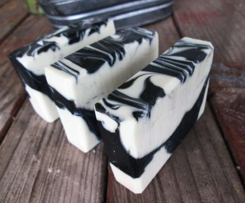 image of marbled charcoal soap