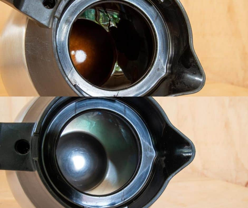 Before and after pictures of thermal coffee pot