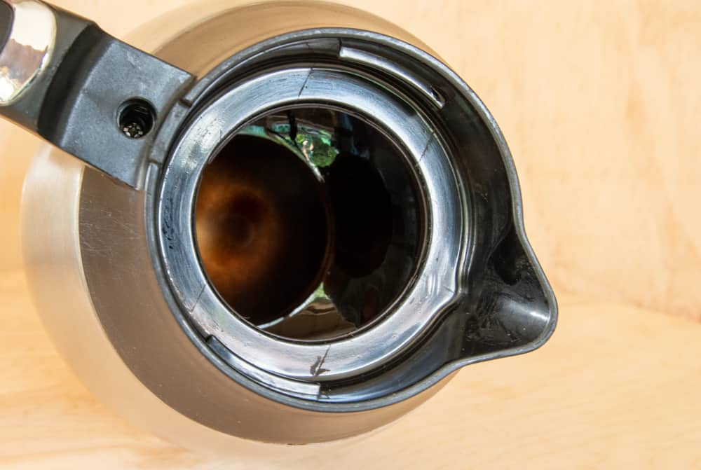 image of inside of coffee pot with brown residue