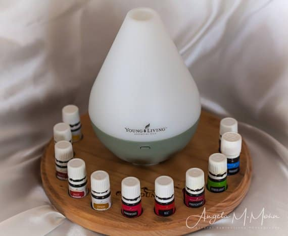 stand for diffuser and oils to organize and display essential oils.