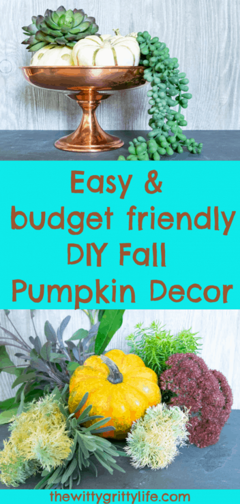 Don't toss those little Halloween pumpkins yet! Use them to create quick and easy budget friendly fall decor that will last you through the Thanksgiving holiday! These simple DIY pumpkin decorations are fun for the whole family and won't break the bank!