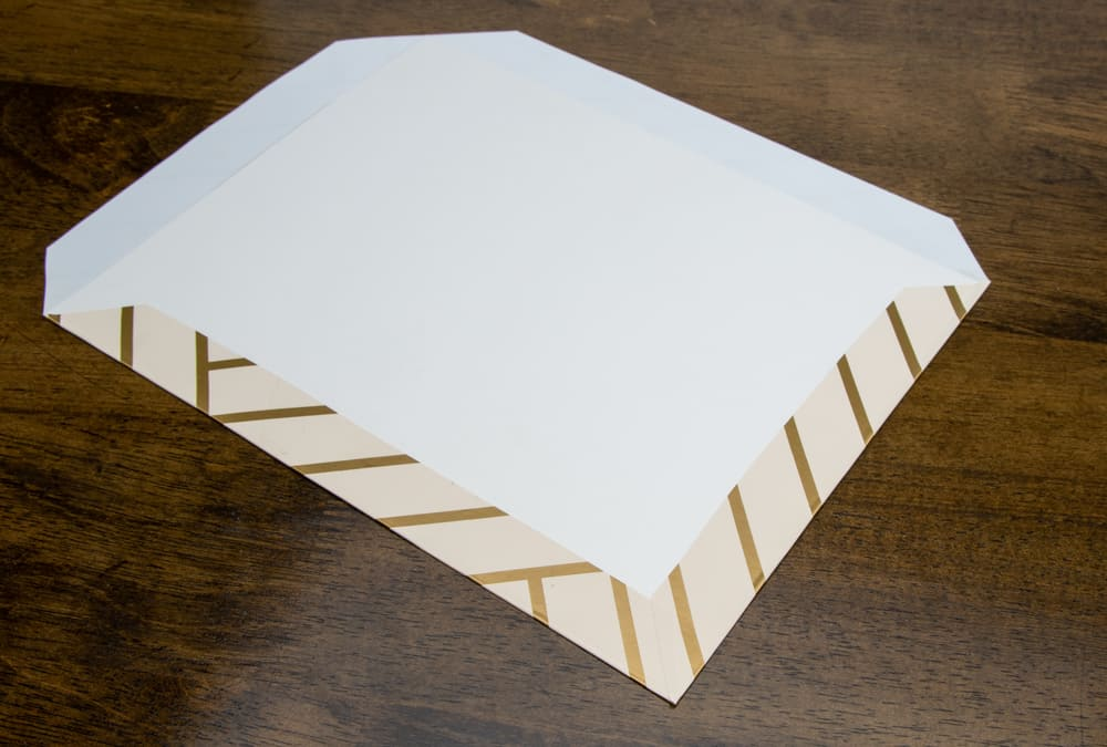 adhesive paper folded and smoothed over edge
