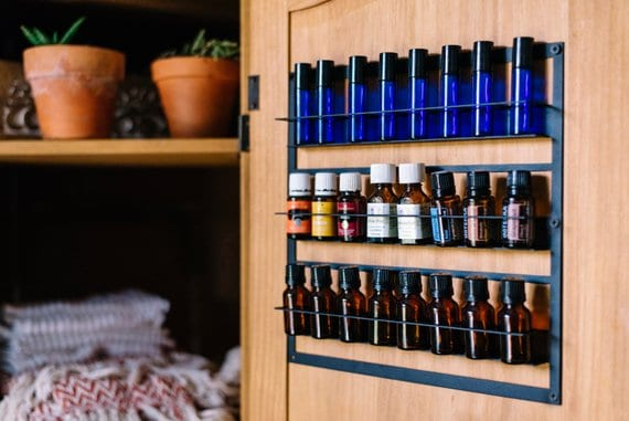 metal rack for organize and display essential oils