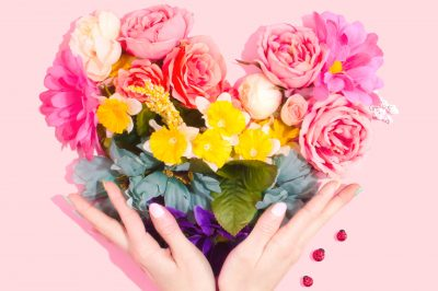 flower heart, hands and ladybugs