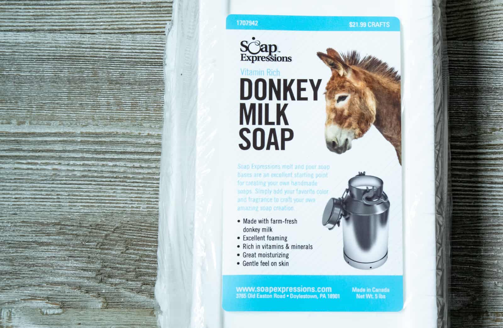 a five pound block of donkey milk soap