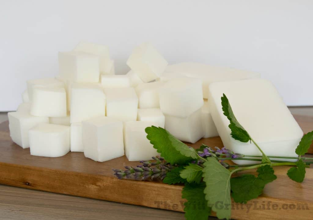 melt and pour soap cut into chunks for homemade soap