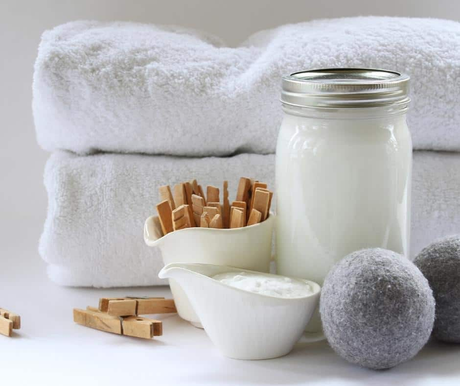 natural laundry soap, dryer balls, towels