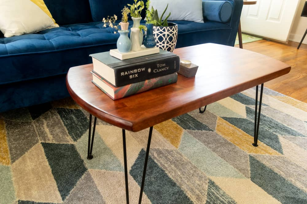 finished DIY MCM coffee table